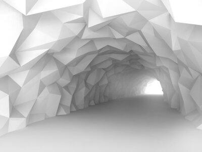 Fototapete Tunnelinnenraum mit chaotischem polygonalem Relief der Wände