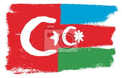 Turkei Flagge U Aserbaidschan Flaggen Vektor Handgemalt Mit Fototapete Fototapeten Gestalten Unabhangigkeit Nation Myloview De