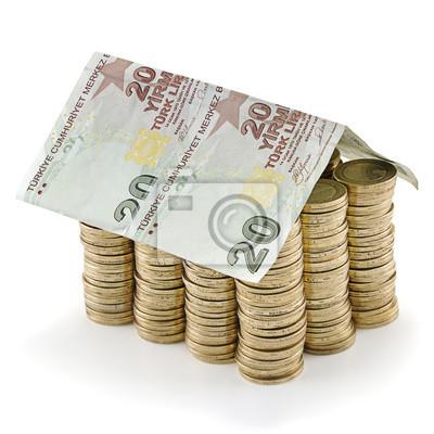 Türkische Lira Banknote Als Dach An Der Spitze Der Stapel Von