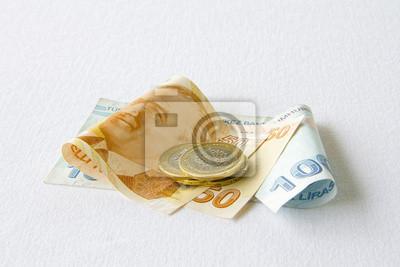 Türkische Lira Banknoten Und Münzen Fototapete Fototapeten