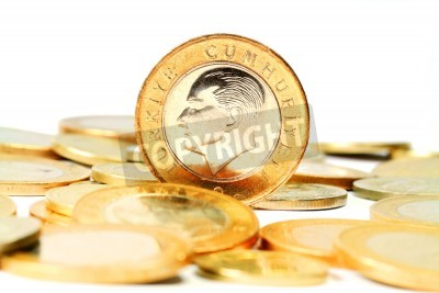 Türkische Lira Münze Isoliert Auf Weißem Hintergrund Fototapete