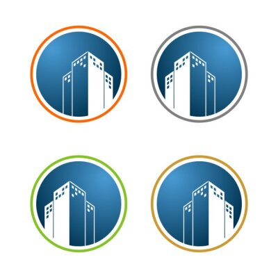 Turm oder wolkenkratzer-gebäude-logo-vorlage fototapete ...