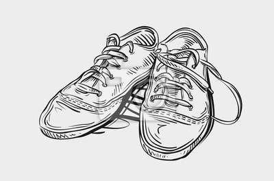 Turnschuhe Hand Gezeichnete Skizze Schuhe Vektor Illustration