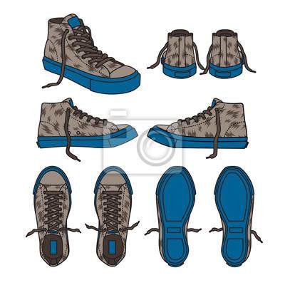 Fototapete Turnschuhschuh-Segeltuchsportabnutzung-Fußabnutzungs-Trainingslaufschuh-Illustrationsvektorkarikatur