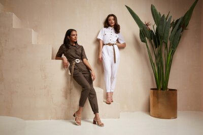 Fototapete Two beautiful woman fashion model brunette hair friends wear overalls suit casual style sandals high heels accessory clothes safari Sahara journey summer hot collection plant flowerpot wall stairs.