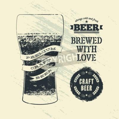 Fototapete Typografie Vintage Grunge-Stil Bier-Plakat mit Glas Bier. Abbildung.