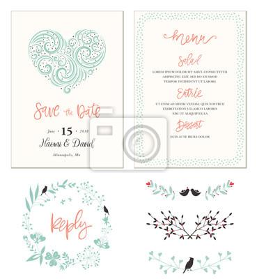 Typografische Hochzeitskarten Mit Strudelherzform Vogel