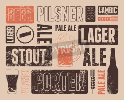 Fototapete Typografisches Retro Grunge-Bierplakat. Abbildung.