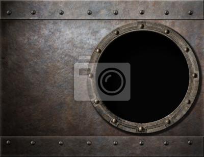 Fototapete U-Boot oder Schlachtschiff Bullauge Steam Punk-Metall-Hintergrund