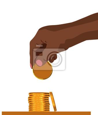 Übergeben Sie das Fallenlassen der goldenen Münze des Geldes, die sauberes Vektorillustrationsfinanzgeldkonzept lokalisiert wird, lokalisierte weißen Hintergrundstapel Münzen
