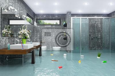 Fototapete: Überschwemmtes modernes badezimmer - bad - dusche -  wasserschaden