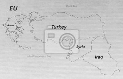 Karte Syrien Irak.Fototapete Ubersicht Krisen Karte Turkei Syrien Irak Libanon Griechenland