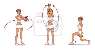 Atemberaubend Übung mit hanteln; ein mädchen mit kurzen haaren tragen shorts &HU_81