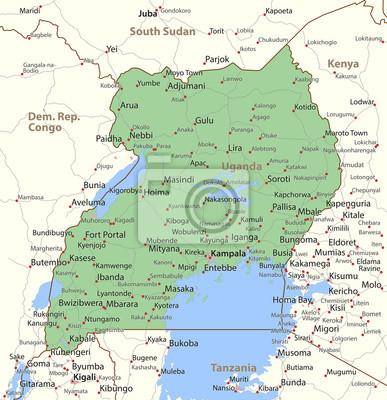 Uganda-world-countries-vectormap-a fototapete • fototapeten umreißen ...