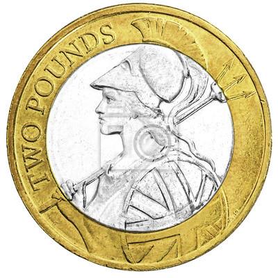 Uk Zwei Pfund Münze Mit Britannia Design In Nahaufnahme Fototapete