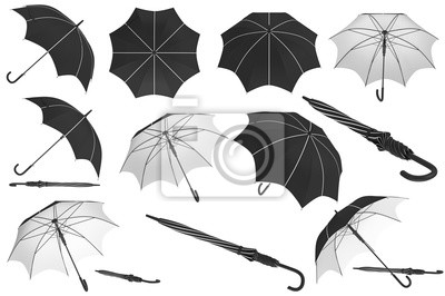 Fototapete Umbrella parasol classic open with white inserts set. 3D rendering