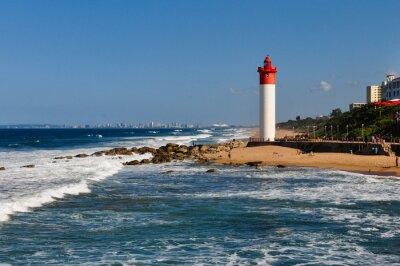 Fototapete Umhlanga Leuchtturm mit Durban als Hintergrund; Südafrika
