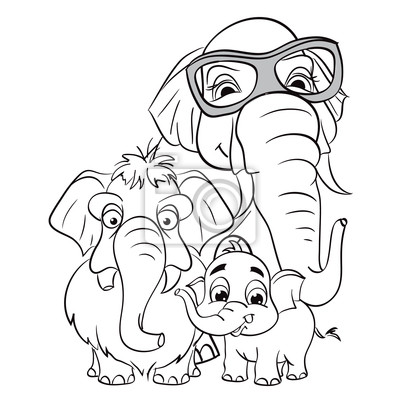 Umrisszeichnung der Familie der Elefanten.