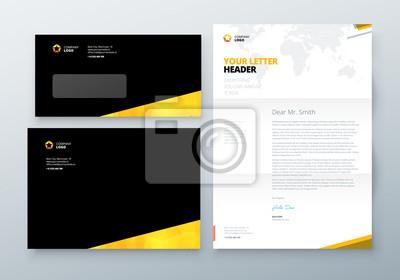 Umschlag Dl C5 Briefkopf Black Yellow Corporate Business Vorlage
