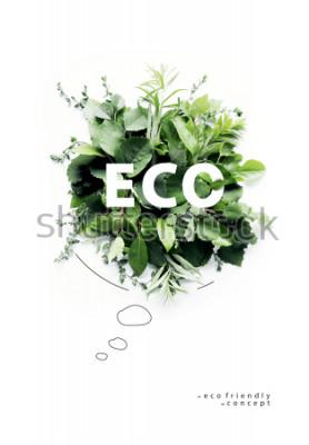 Fototapete Umweltfreundlicher Planet Poster Symbolische Sprechblase, hergestellt aus grünem Gras und Ästen. Minimales Naturkonzept. Natur sprechen Think Green. Ökologiekonzept. Flach legen Draufsicht
