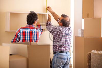 Umzug Haus Arbeiter Einrichtung Mobel Und Auspacken Fototapete