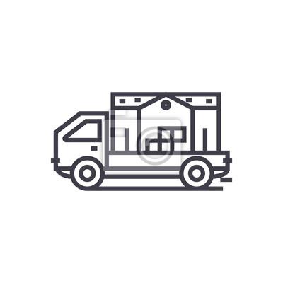 Umzug Haus Lkw Konzept Vektor Dunne Linie Symbol Zeichen Symbol