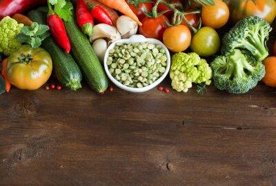 Fototapete Ungekocht trocken Split Erbsen in einer Schüssel mit Gemüse