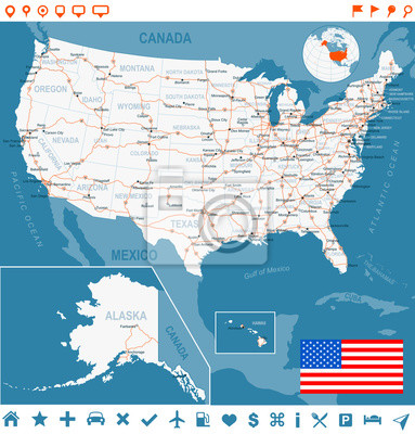 United states, usa map. highly detailed vector illustration ...
