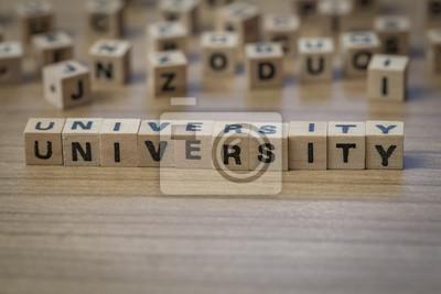 Universität geschrieben in Holzwürfel