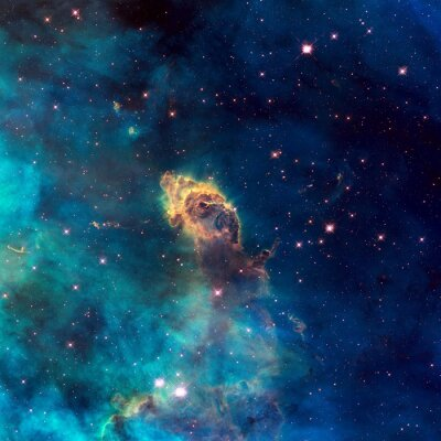 Fototapete Universum mit Sterndüsen, Sternen, Nebel und Galaxie gefüllt.