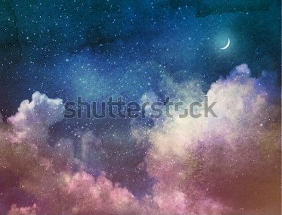 Fototapete Universum voller Sterne und Mond. Aquarell