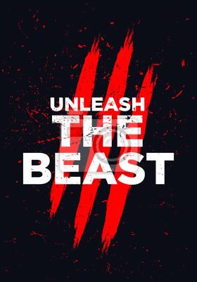 Fototapete unleash the beast motivational quotes vector design