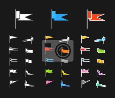 Unterschiedliche Farbe flag mittelalterlichen Sammlung. Wohnung-Design-Elemente Co