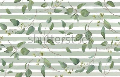 Fototapete Unterschiedlicher Baum des Eukalyptus, natürliche Niederlassungen des Laubs mit grünen Blätter sät tropische nahtlose Muster-Aquarellart. Hellblauer entfernter Hintergrund der dekorativen schönen eleg