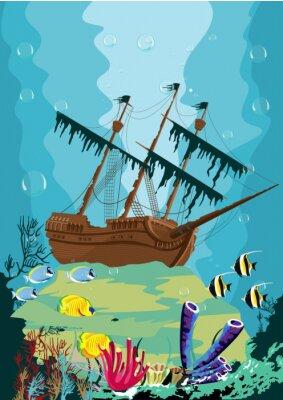 Fototapete Unterwasser-Landschaft mit alten Piratenschiff