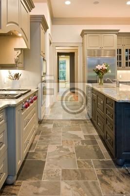 Upulent Kuche Mit Schieferboden Und Granit Fototapete Fototapeten