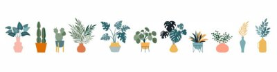 Fototapete Urban jungle, trendy home decor with plants, cacti, tropical leaves in stylish planters and pots. Vector illustration
