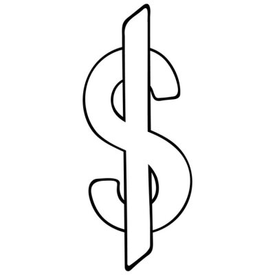 Us dollar icon. Monetary currency. Vector illustration. Contour on an isolated white background. Doodle style. Sketch. Subjects of business and finance. Symbol. Coloring. Illustration for web design.