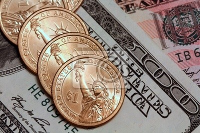 Us Dollar Münzen Und Scheine Fototapete Fototapeten Hundert