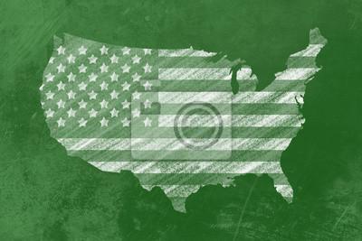 US-Flagge in den USA ein Formular Einer Tafel