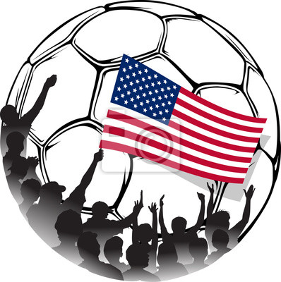 USA-Fußball-Fans Wehende Nationalflagge