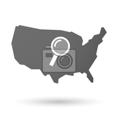 Usa map icon with a magnifier fototapete • fototapeten Infografik ...