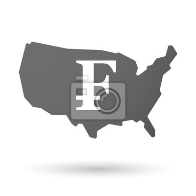 Fototapete: Usa map icon with a swiss franc sign