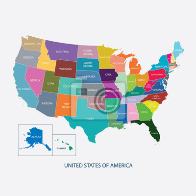 Fototapete: Usa map in color with name of countries,united states of america