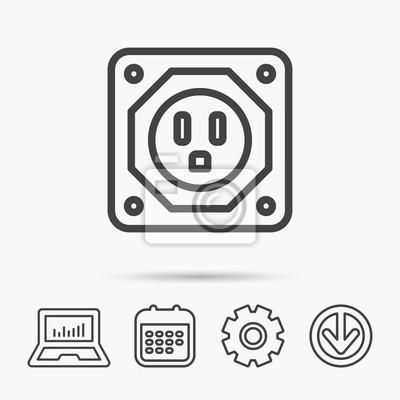 Usa steckdose symbol. elektrizität netzteil zeichen. notizbuch ...