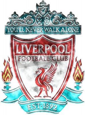 Fototapete Used badge of FC Liverpool