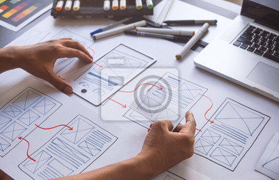 Fototapete ux Graphic designer creative  sketch planning application process development prototype wireframe for web mobile phone . User experience concept.