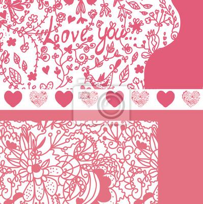 Valentine Banner mit Muster eingestellt