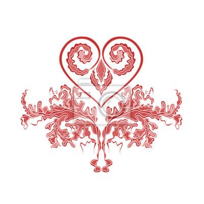 Valentine Gruß floralen Ornamenten und Herzen