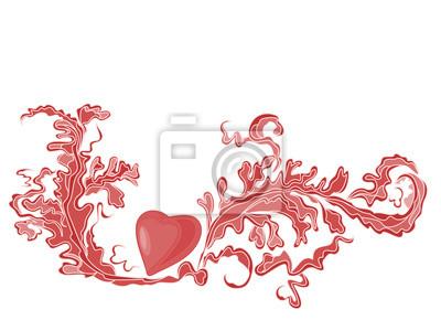 Valentine Gruß rotes Herz mit Ornamenten